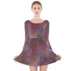 2000 Spirals Many Colorful Spirals Long Sleeve Velvet Skater Dress by Nexatart