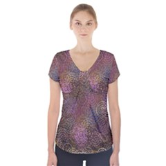 2000 Spirals Many Colorful Spirals Short Sleeve Front Detail Top
