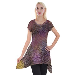 2000 Spirals Many Colorful Spirals Short Sleeve Side Drop Tunic