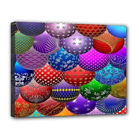 Fun Balls Pattern Colorful And Ornamental Balls Pattern Background Canvas 14  X 11  by Nexatart
