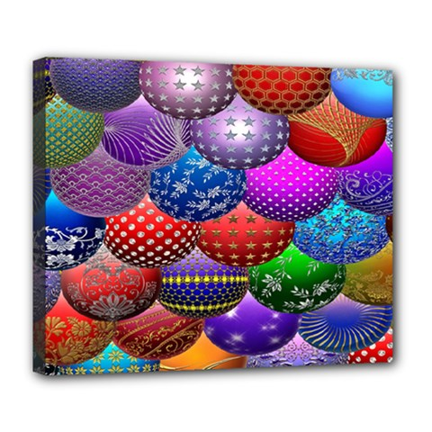 Fun Balls Pattern Colorful And Ornamental Balls Pattern Background Deluxe Canvas 24  X 20