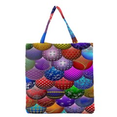 Fun Balls Pattern Colorful And Ornamental Balls Pattern Background Grocery Tote Bag