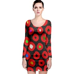 Polka Dot Texture Digitally Created Abstract Polka Dot Design Long Sleeve Bodycon Dress