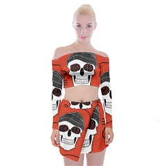 Poster Twenty One Pilots Skull Off Shoulder Top With Skirt Set by Onesevenart