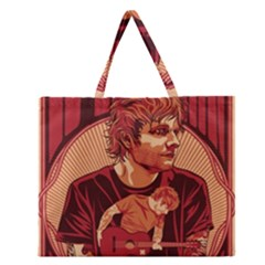 Ed Sheeran Illustrated Tour Poster Zipper Large Tote Bag by Onesevenart