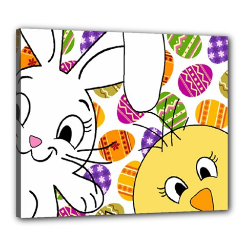 Easter bunny and chick  Canvas 24  x 20