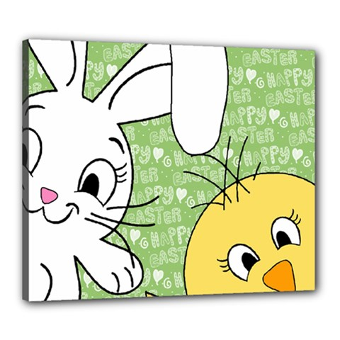 Easter Bunny And Chick  Canvas 24  X 20  by Valentinaart