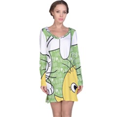 Easter Bunny And Chick  Long Sleeve Nightdress by Valentinaart