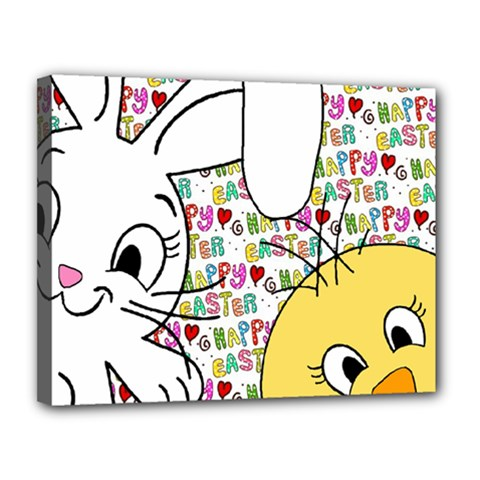 Easter Bunny And Chick  Canvas 14  X 11  by Valentinaart