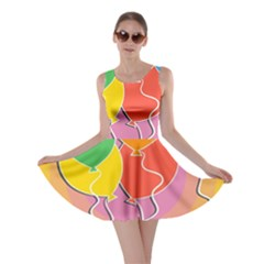 Birthday Party Balloons Colourful Cartoon Illustration Of A Bunch Of Party Balloon Skater Dress