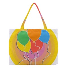 Birthday Party Balloons Colourful Cartoon Illustration Of A Bunch Of Party Balloon Medium Tote Bag by Nexatart