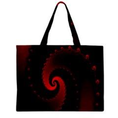 Red Fractal Spiral Zipper Mini Tote Bag by Nexatart