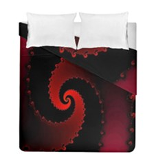 Red Fractal Spiral Duvet Cover Double Side (full/ Double Size)