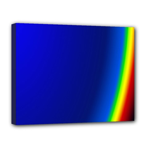 Blue Wallpaper With Rainbow Canvas 14  X 11