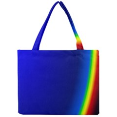 Blue Wallpaper With Rainbow Mini Tote Bag by Nexatart