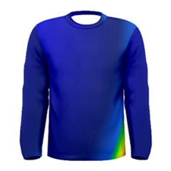 Blue Wallpaper With Rainbow Men s Long Sleeve Tee