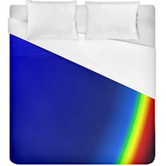 Blue Wallpaper With Rainbow Duvet Cover (king Size)