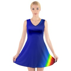 Blue Wallpaper With Rainbow V Neck Sleeveless Skater Dress