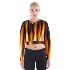 Dark Flame Pattern Cropped Sweatshirt