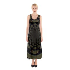 Dark Portal Fractal Esque Background Sleeveless Maxi Dress