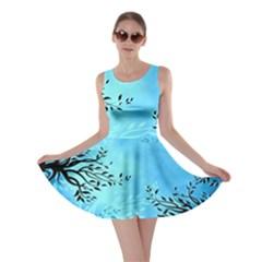Blue Night Portrait Background Skater Dress