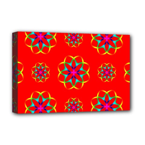 Rainbow Colors Geometric Circles Seamless Pattern On Red Background Deluxe Canvas 18  X 12