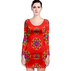 Rainbow Colors Geometric Circles Seamless Pattern On Red Background Long Sleeve Bodycon Dress