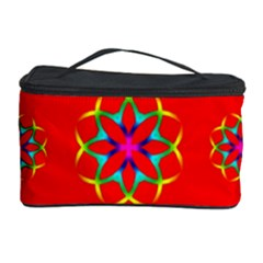 Rainbow Colors Geometric Circles Seamless Pattern On Red Background Cosmetic Storage Case