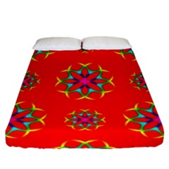 Rainbow Colors Geometric Circles Seamless Pattern On Red Background Fitted Sheet (queen Size) by Nexatart