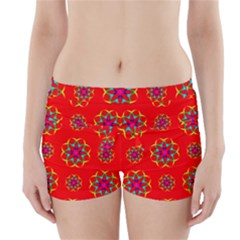 Rainbow Colors Geometric Circles Seamless Pattern On Red Background Boyleg Bikini Wrap Bottoms