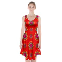 Rainbow Colors Geometric Circles Seamless Pattern On Red Background Racerback Midi Dress