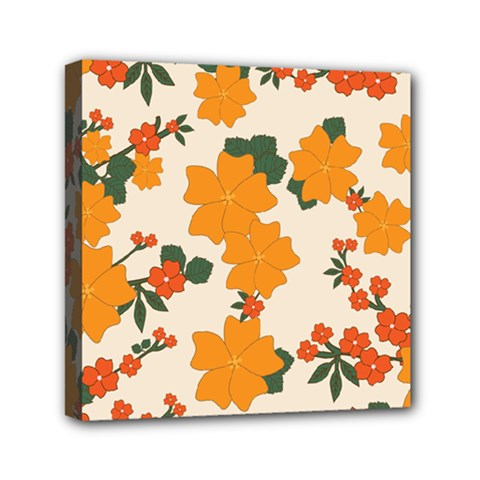Vintage Floral Wallpaper Background In Shades Of Orange Mini Canvas 6  X 6  by Nexatart