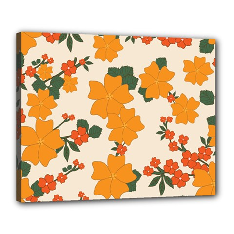 Vintage Floral Wallpaper Background In Shades Of Orange Canvas 20  X 16  by Nexatart
