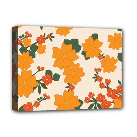 Vintage Floral Wallpaper Background In Shades Of Orange Deluxe Canvas 16  X 12   by Nexatart