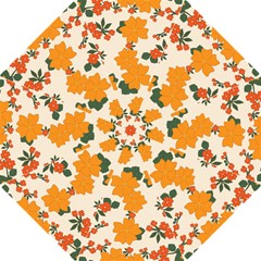 Vintage Floral Wallpaper Background In Shades Of Orange Hook Handle Umbrellas (medium)