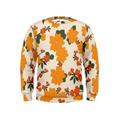 Vintage Floral Wallpaper Background In Shades Of Orange Kids  Sweatshirt