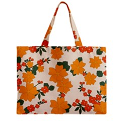 Vintage Floral Wallpaper Background In Shades Of Orange Zipper Mini Tote Bag by Nexatart