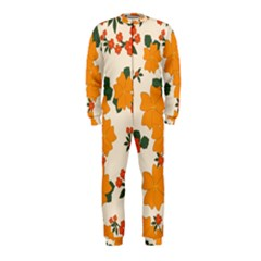 Vintage Floral Wallpaper Background In Shades Of Orange Onepiece Jumpsuit (kids)