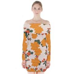 Vintage Floral Wallpaper Background In Shades Of Orange Long Sleeve Off Shoulder Dress by Nexatart