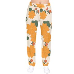 Vintage Floral Wallpaper Background In Shades Of Orange Drawstring Pants by Nexatart