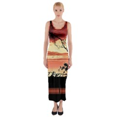 Autumn Song Autumn Spreading Its Wings All Around Fitted Maxi Dress by Nexatart