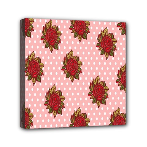 Pink Polka Dot Background With Red Roses Mini Canvas 6  X 6  by Nexatart