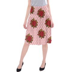 Pink Polka Dot Background With Red Roses Midi Beach Skirt