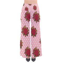 Pink Polka Dot Background With Red Roses Pants by Nexatart