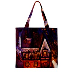 House In Winter Decoration Zipper Grocery Tote Bag by Nexatart
