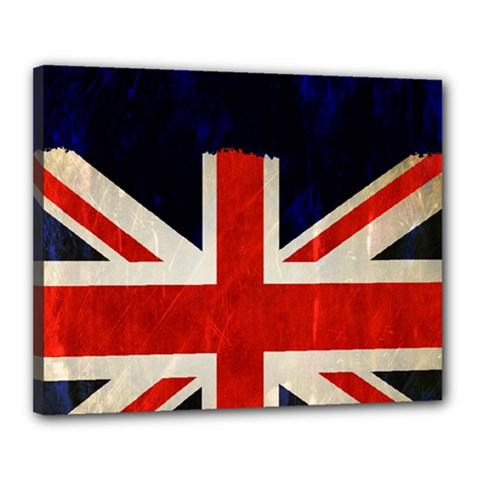Flag Of Britain Grunge Union Jack Flag Background Canvas 20  X 16  by Nexatart