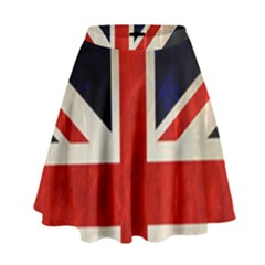 Flag Of Britain Grunge Union Jack Flag Background High Waist Skirt by Nexatart