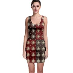 Decorative Pattern With Flowers Digital Computer Graphic Sleeveless Bodycon Dress