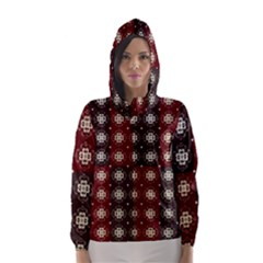 Decorative Pattern With Flowers Digital Computer Graphic Hooded Wind Breaker (women)
