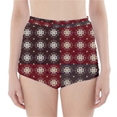Decorative Pattern With Flowers Digital Computer Graphic High Waisted Bikini Bottoms